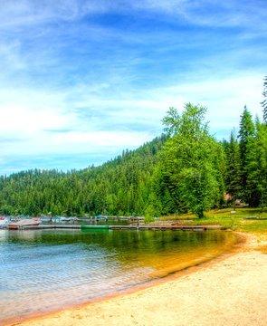 The beach at Cavanaugh Bay. Priest Lake, Idaho