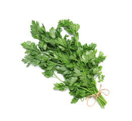 Fresh green parsley on white background, top view. Aromatic herbs