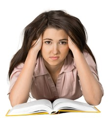 Bored Young Woman with Head Resting on Hand and Open Book -