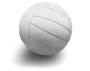 White volleyball ball, close up on white background