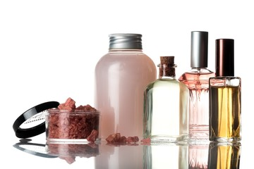 Glass Perfume Bottles, Liquid Soap and Bath Salts