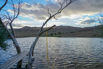Homemade diving board and rope swing near a pond in the Nevada Desert.