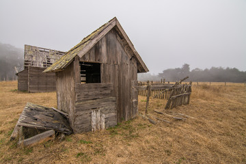 Broken shed on derelict farm