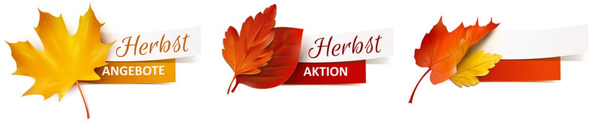 Herbstblätter mit Papier Banner - Herbst Angebote, Herbst Aktion Wall mural