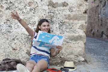 beautiful tourist woman