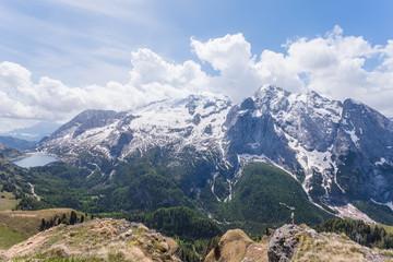 Panorama on the Marmolada glacier and Fedaia Lake, Dolomites, Trentino, Italy