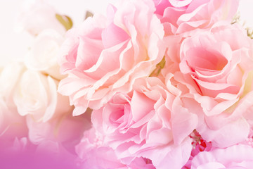 Fototapeta Sweet color fabric roses in soft style for background