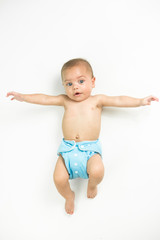 Baby in studio white isolated background