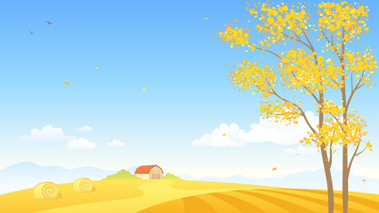 Vector cartoon illustration of an autumn farm background