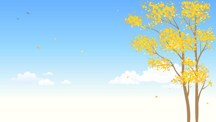 Vector illustration of fall trees and sky background