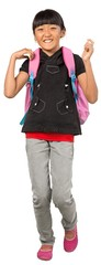 Young Asian girl wearing a backpack