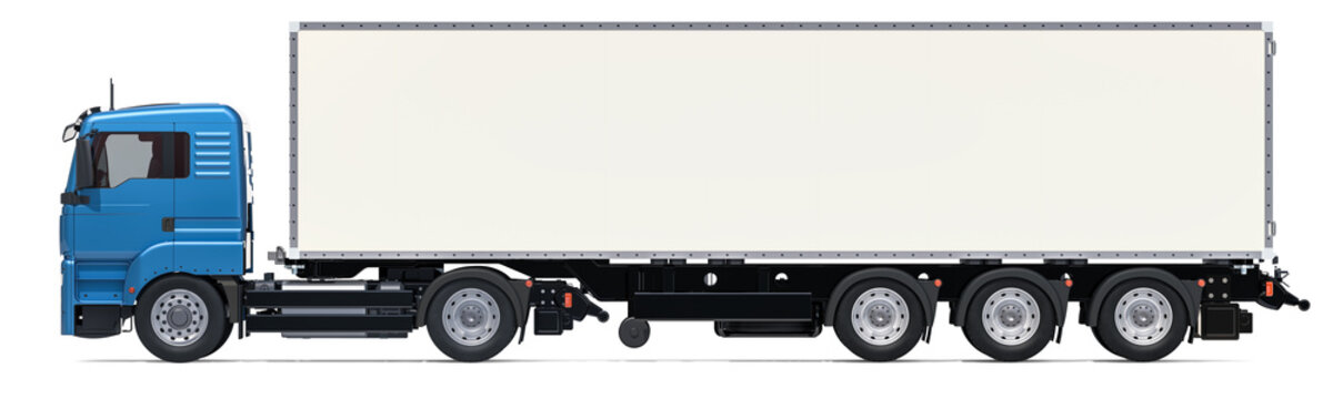 Lorry with long isothermal van, side view. 3D rendering