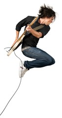Portrait of a Musician Jumping while Playing an Electric Guitar