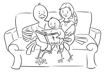 Christian family of birds reading the Bible - doodle illustration