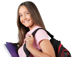 Portrait of a Smiling Student with Backpack and Notebooks