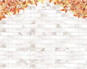 紅葉と板塀の背景イラスト