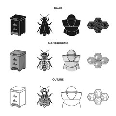 The bee, the bee-keeper in the mask, the honeycomb of the honey.Apiary set collection icons in black,monochrome,outline style vector symbol stock illustration web.