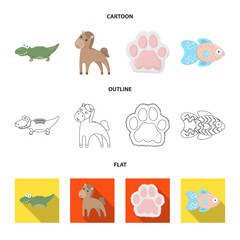 An unrealistic cartoon,outline,flat animal icons in set collection for design. Toy animals vector symbol stock web illustration.