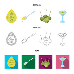 Label of olive oil, spoon with a drop, olives on sticks, a glass of alcohol. Olives set collection icons in cartoon,outline,flat style vector symbol stock illustration web.