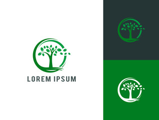 nature tree logo template vector illustration