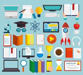 education on line set icons vector illustration design