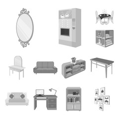 Furniture and interior monochrome icons in set collection for design. Home furnishings vector isometric symbol stock web illustration.
