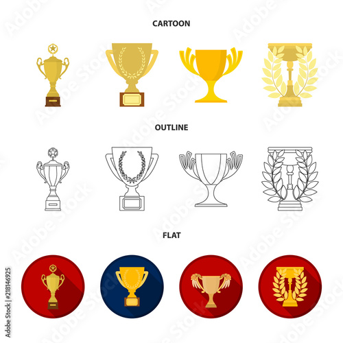 Gold Cup Cartoonoutlineflat Icons In Set Collection For Design