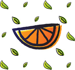 funy slice orange doodle sketch with gradient color and leaf pattern as a background