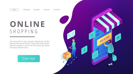 Isometric users doing shopping online with smartphones landing page. Mobile shopping, ordering and buying online, online marketing concept. Ultra violet background. Vector 3d isometric illustration.