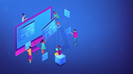 Isometric IT team working with web pages, charts and data illustration. Seo analysis and strategy, marketing, search engine results, concept. Blue violet background. Vector 3d isometric illustration.