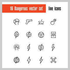 Dangerous icons. Set of line icons. Bomb, radiation sign, lightning bolt. Caution symbols concept. Vector illustration can be used for topics like safety, signs and symbols