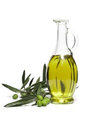Bottle of Olive Oil with Green Olives on the Branch