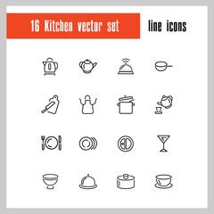 Kitchen icons. Set of  line icons. Kettle, portion, cutlery. Utensils concept. Vector illustration can be used for topics like cooking, housework