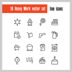 Heavy work icons. Set of line icons. Miner, sapper, police. Heavy work concept. Vector illustration can be used for topics like hazardous industry, occupation, danger.