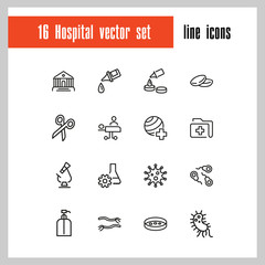 Hospital icons. Set of line icons. Surgery, operating room, laboratory. Medicine concept. Vector illustration can be used for topics like medical care, treatment, diagnostics.