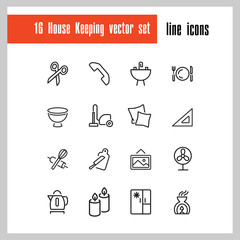 House keeping icons. Set of  line icons. Utensils, domestic appliance, housecleaning. Housekeeping concept. Vector illustration can be used for topics like household, cooking, kitchen.