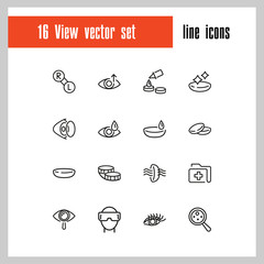 View icons. Set of  line icons. Eyes care, contact lens, VR glasses. View concept. Vector illustration can be used for topics like sight, vision, ophthalmology.