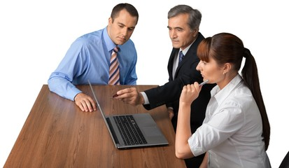 Portrait of Business People Working with Laptop