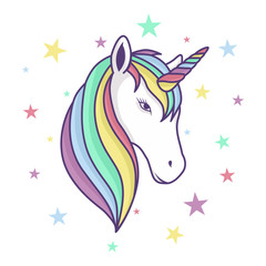colorful unicorn head with rainbow horn and stars background