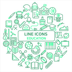 Education Outline Icons Set