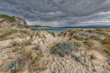 Wall Mural - Bay of Voidokilia beach under threatening sky