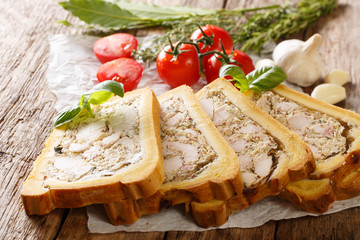 Meat chicken terrine, jelly in bread with spices and herbs close-up on paper. horizontal