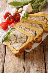 homemade chicken terrine, jelly in bread is served with basil and vegetables close-up. vertical