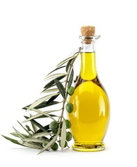 Bottle of Olive Oil with Green and Black Olives