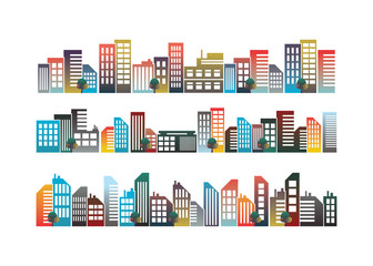 City design with illustrations of style colorful