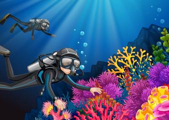 Scuba diving under the deep ocean