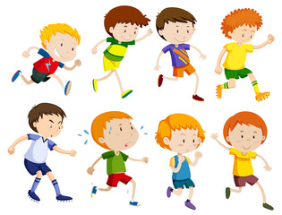 Set of children running