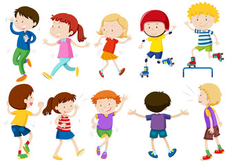 Set of kids doing activites