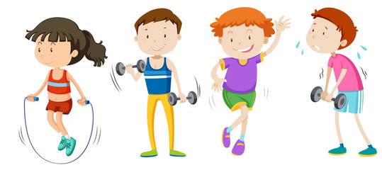 A set of children weight training