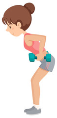 A girl lifting the dumbbell